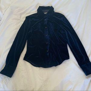DKNY blue velvet button down shirt